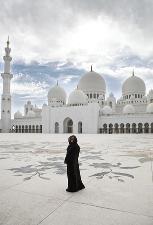 abudhabi: Woman in Sheikh Zayed mosque at Abu-Dhabi, UAE
