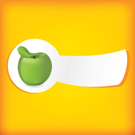 Green apple on the yellow background Vector