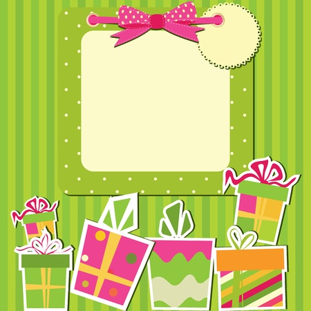 Greeting card with gift boxes.