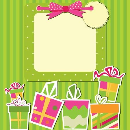 marco cumplea�os: Tarjeta de felicitaci�n con cajas de regalo.
