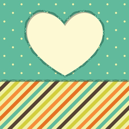 Greeting card with heart frame.  Stock Vector - 11961987