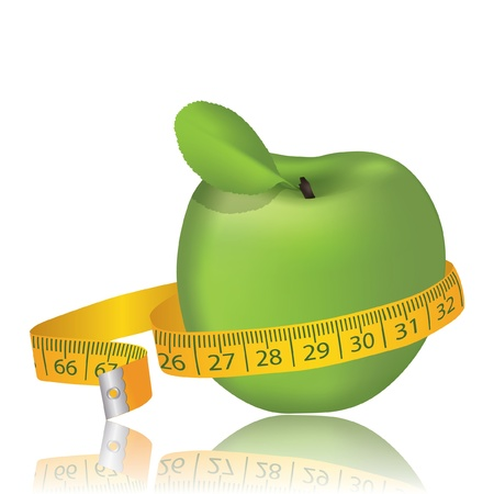 Green  apple with measurement. Vector illustration Vector