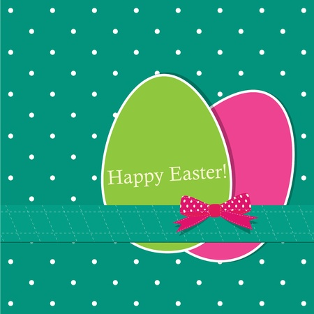 Easter greeting card with eggs Vector Illustration