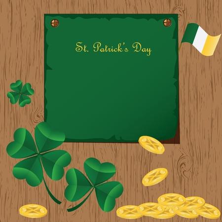 St Patricks Day card with  Irish holidays symbols. Vector illustration Vector