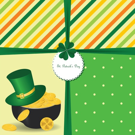 St Patrick's Day card with  Irish holidays symbols. Vector illustration Vector