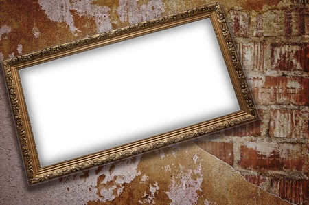 emty: Frame with emty blank on the grunge bricks wall background