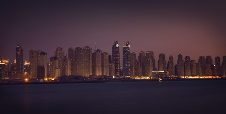 Dubai Marina in the night. Panoramic view from gulf Stock Photo - 12433220