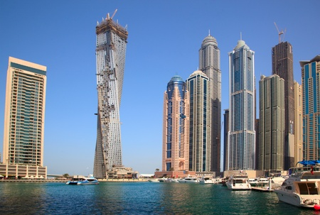 Dubai,UAE � March 09, 2012: The construction of Infinity tower skyscraper on March 09, 2012 in Dubai, UAE. Its building with a twist of 90?.