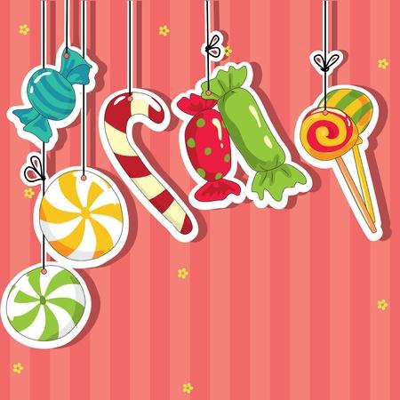 snoepjes: Snoep op strings. Vector illustratie. Stock Illustratie
