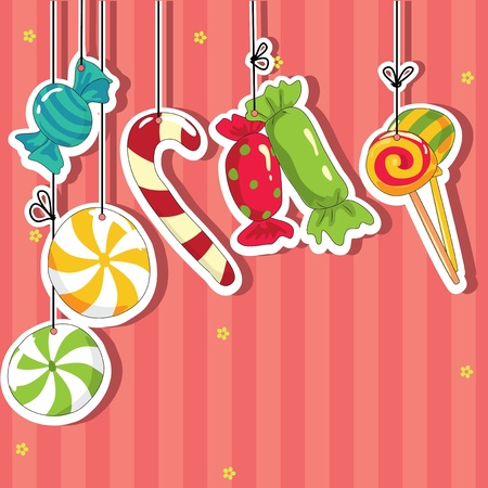 wrapping animal: Sweets on strings. Vector illustration.