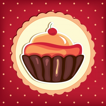 Cute retro cupcake in frame . Polka dots background.  Vector