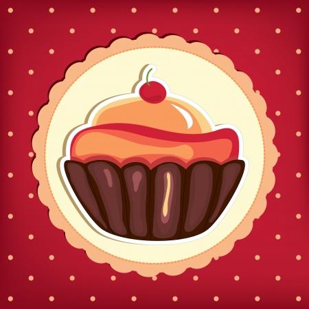 Cute retro cupcake in frame . Polka dots background.