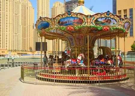 merry go round: Carousel outdoor in Dubai Marina, UAE
