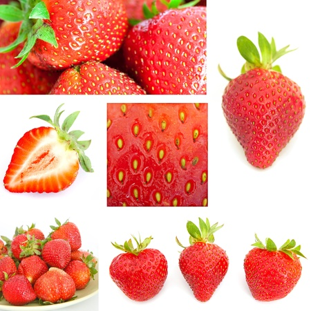 Collage of strawberry pictures  Tasty sweet set photo