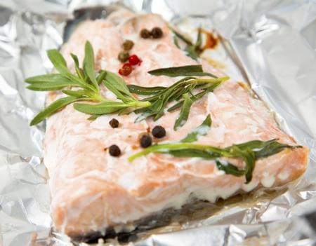 Salmon steak baked in foil paper