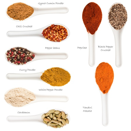black seed: Set of spices heaps isolated on white background