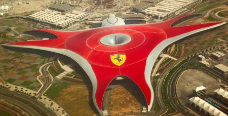 ABU DHABI, UAE -  APRIL 07  Ferrari World Park is the largest indoor amusement park in the world  Abu Dhabi on April 07, 2012  Bird