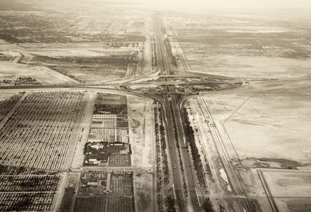 birds desert: Highway in United Arab Emirates. Birds eye view