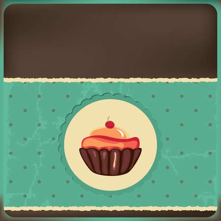 enchanted: Cute retro cupcake in frame   Polka dots background  Vector card