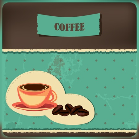 Coffee card with cup and beans on the retro background with polka dots Stock Vector - 13278979