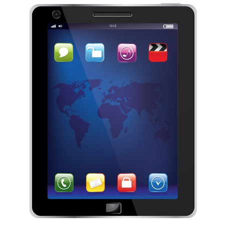 Tablet computer mobile phone isolated on the white background Vector