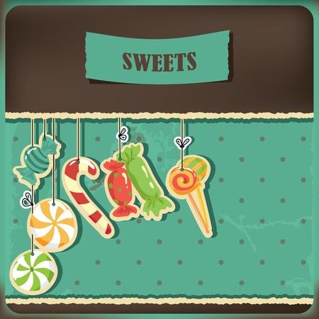 Sweets on strings  Vintage polka dots background  Vector illustration