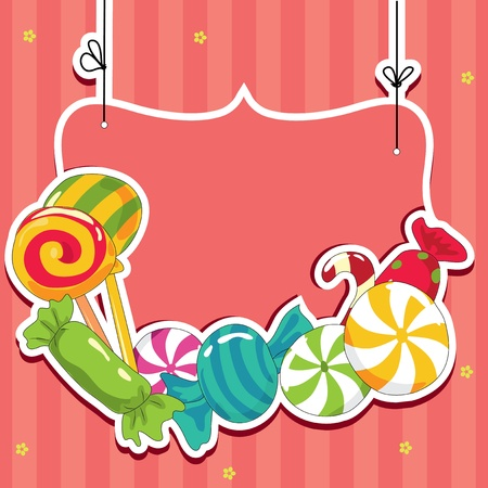 candy cane: Sweets on strings  Vector illustration