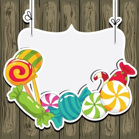 bonbons: Süßwaren auf Saiten auf dem hölzernen Hintergrund Vektor-Illustration