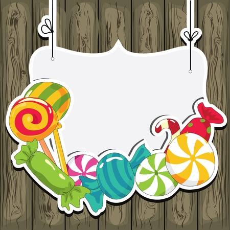 colourful candy: Sweets on strings on the wooden background  Vector illustration