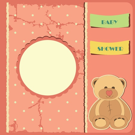 vintage baby: Baby shower for girl  Greeting card  Frame and place for your text or picture