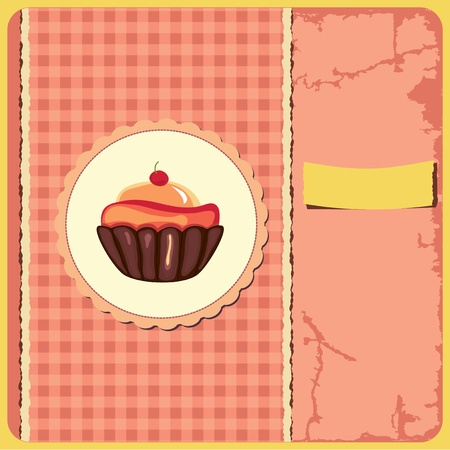 Cute retro cupcake in frame Vector