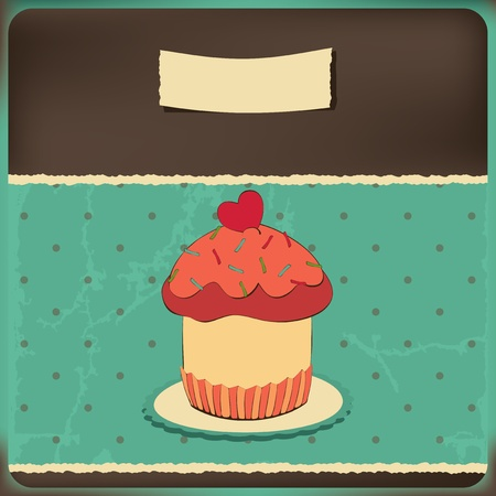 Cute retro cupcake in frame,Polka dots background.Illustration card  Vector