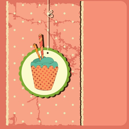 Cute retro cupcake,Polka dots background.Illustration card  Vector