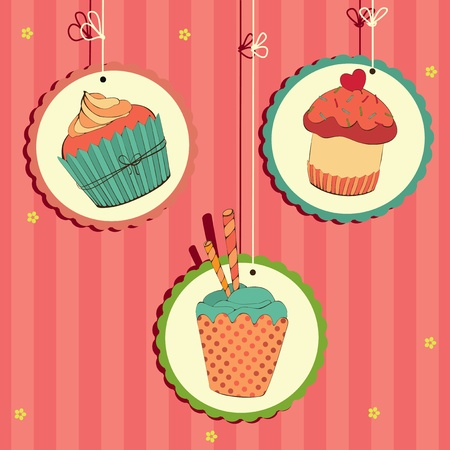 Cute retro cupcake on the string . Illustration card. Vector