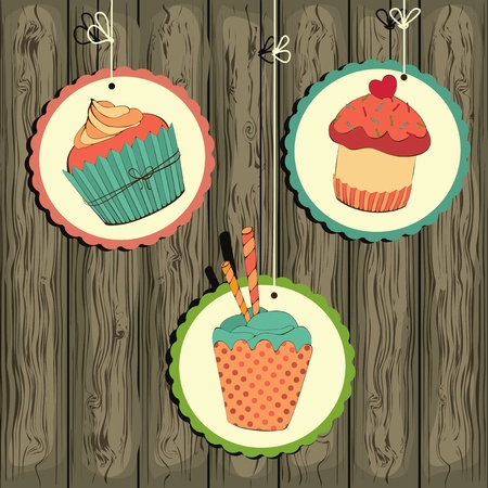 Cute retro cupcake on the string on the wooden background . Illustration card.