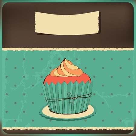 Cute retro cupcake . Polka dots background. Vector card. Vector