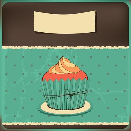 zauberhaft: Nette Retro Cupcake. Polka Dots Hintergrund. Vektor-Karte.