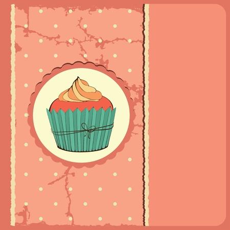 Cute retro cupcake in frame . Polka dots background. Vector card. Vector