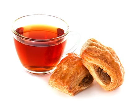 Cup of tea with cinnamon Danish bun  on white background Stock Photo - 13510943