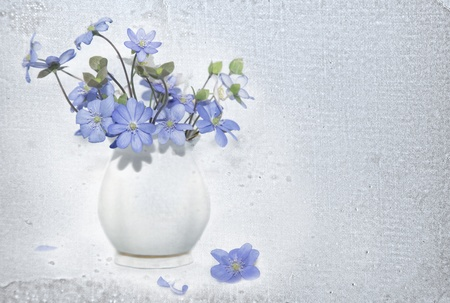 Bunch  of spring flowers  Snowdrop on the textured background photo