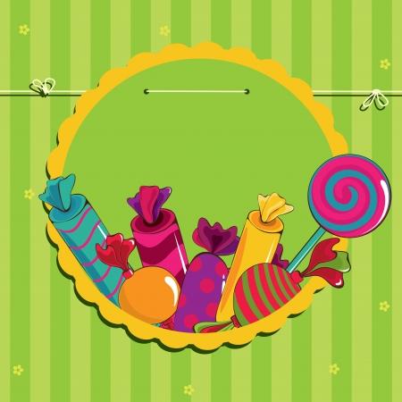 Bonbons dans le cadre sur les chaînes Illustration
