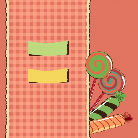 Sweets with checked background Vector