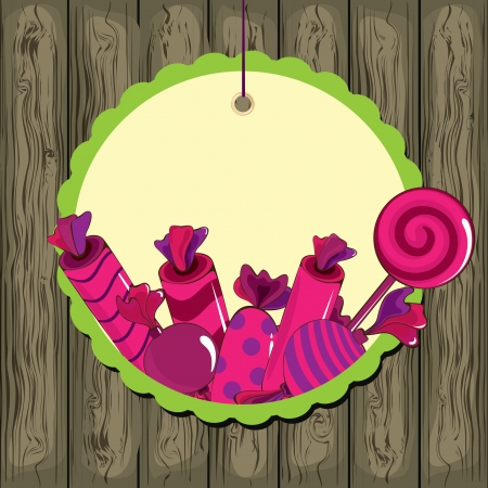 Sweets on strings with frame on the wooden background Vector