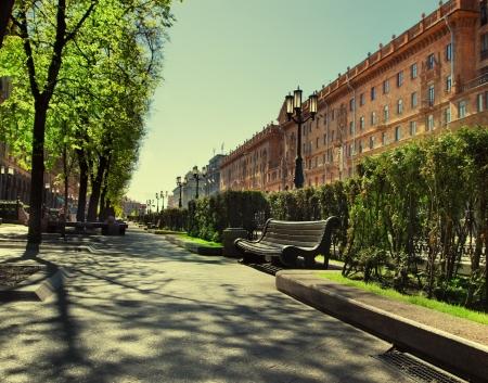minsk: Empty street in the city. Minsk, Belarus Stock Photo