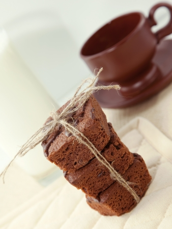 Brownie with cup of coffee photo