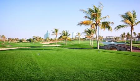 Landscape of green golf course  Dubai, UAE