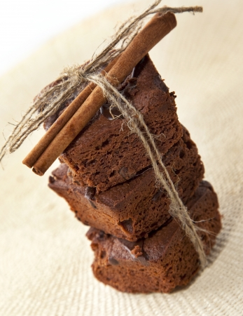 Brownie with cinnamon on the textile background photo