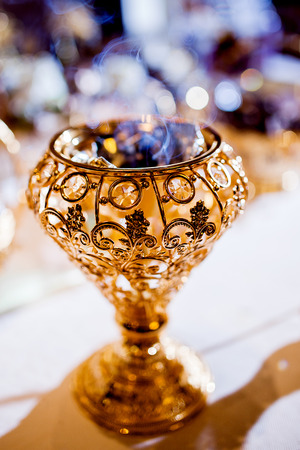 arrangment: Wedding parfume  table arrangment. Arabian gold coal censer