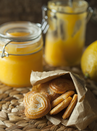greem: Dessert. Lemon curd with cookies Stock Photo