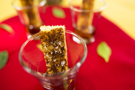 cinammon: French toast in shot glasses with sugar and cinammon are the perfect finger food.